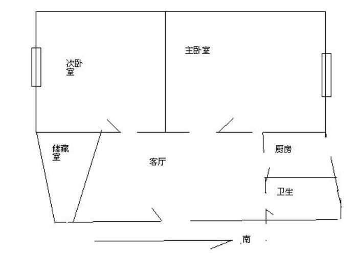 上海2室1厅1卫63㎡-水电路1381弄户型图-买房大师