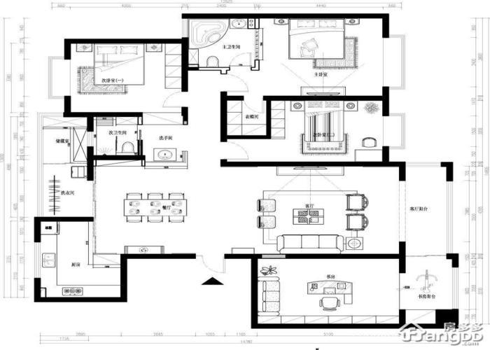 深圳3室1厅3卫㎡-环岛丽园户型图-买房大师