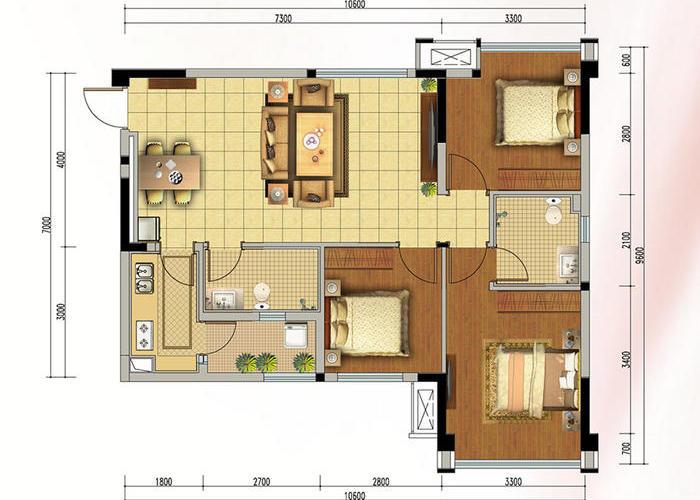 增加私密性 厨房:l型厨房设计,连接小花园,空间感增大 卧室:带卫生间图片