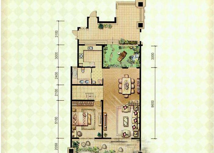 合肥1室2厅1卫230㎡-绿地内森庄园户型图-买房大师