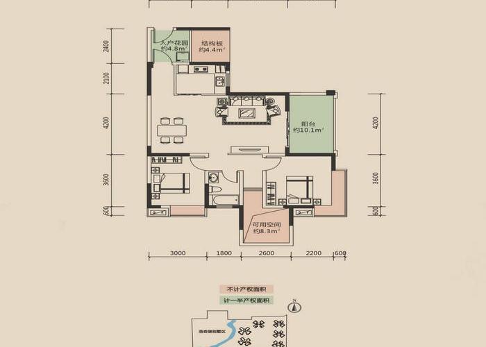 成都3室2厅1卫93㎡-洛森堡新殿户型图-买房大师