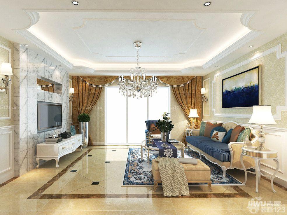 欧式房子客厅电视柜装修效果图片
