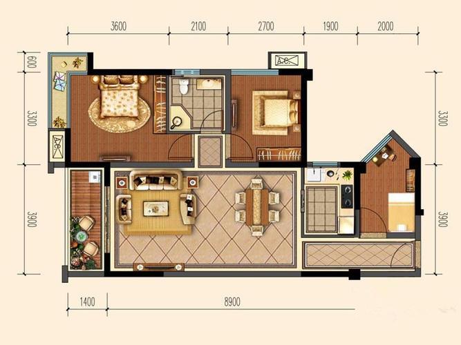 成都2室1厅1卫73㎡-洛森堡新殿户型图-买房大师