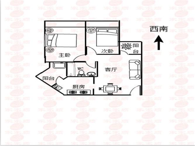 东莞2室1厅1卫63㎡-香树丽舍户型图-买房大师