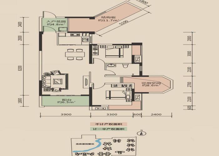 成都3室2厅1卫92㎡-洛森堡新殿户型图-买房大师