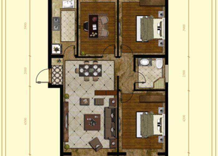 秦皇岛3室2厅1卫114.1㎡-岸上澜湾户型图-买房大师