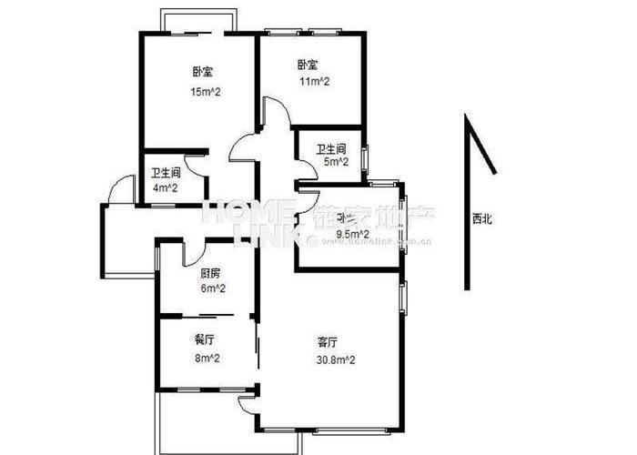 成都3室2厅1卫132㎡-锦绣森邻户型图-买房大师