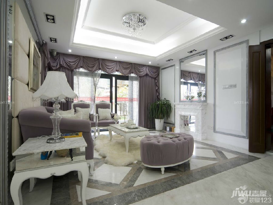 欧式风格客厅过门石颜色装修效果图