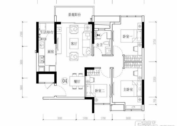 惠州3室2厅1卫90㎡-海伦堡院子户型图-买房大师