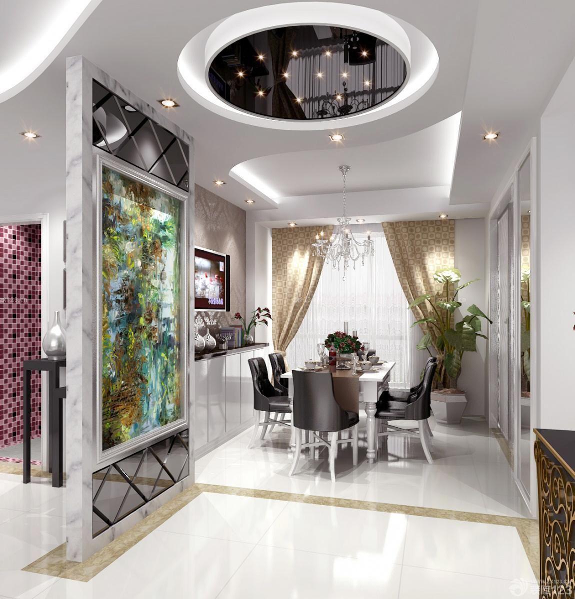 欧式餐厅玻璃吊顶设计图片