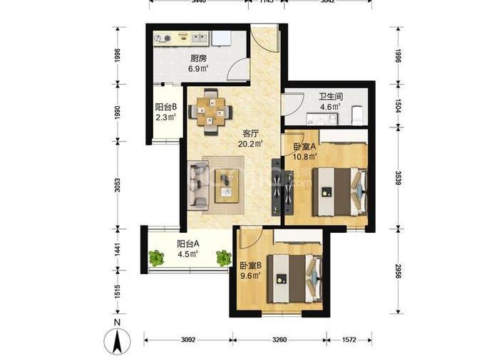 北京2室1厅1卫80㎡-方舟苑二期户型图-北京房多多
