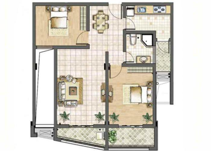 厨房:l型厨房设计,方便操作. 卧室:主卧朝南,搭配阳台.图片