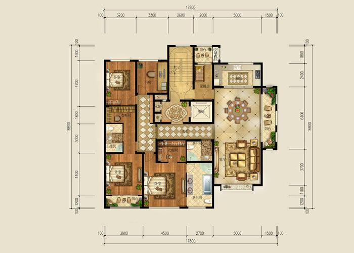 餐厨一体设计,餐厅厨房一门之隔,使用方便 卧室:超大主卧带独立卫生间