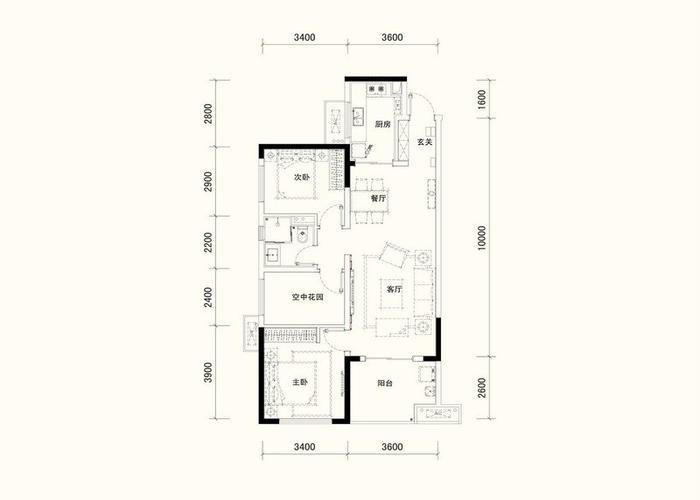 三件两层房屋设计图