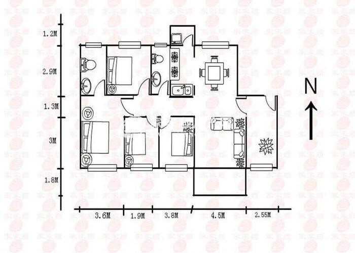 深圳4室2厅1卫100㎡-秋谷康城户型图-深圳房多多
