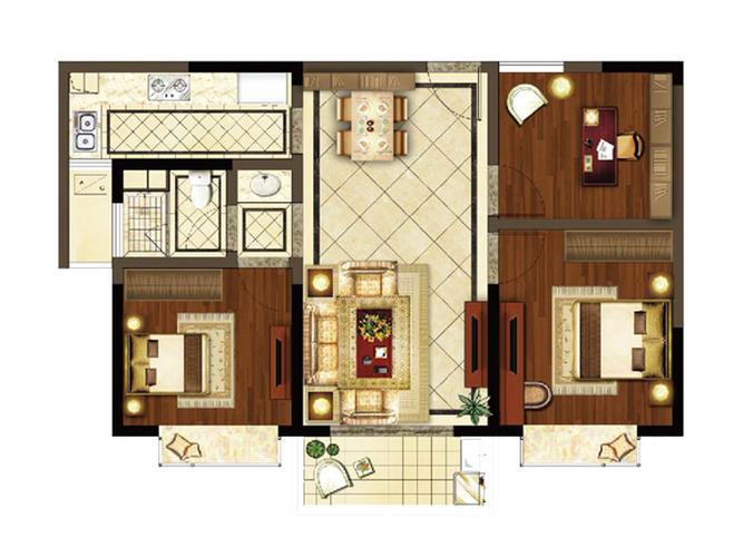 苏州3室2厅1卫103㎡-香槟街铂悦府户型图-买房大师