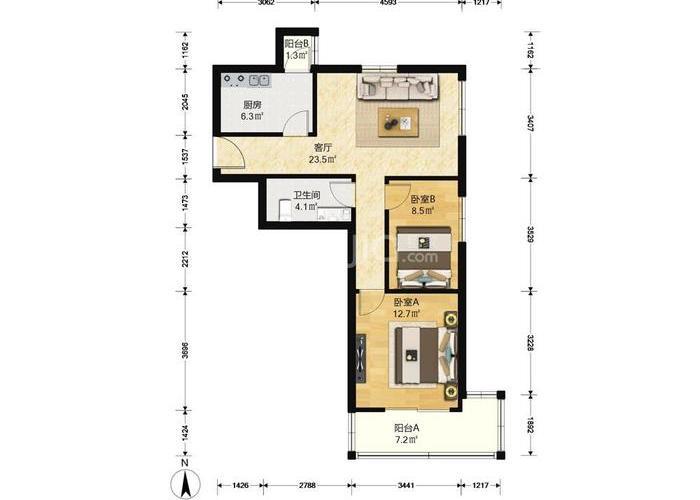 北京2室1厅1卫86㎡-方舟苑二期户型图-北京房多多