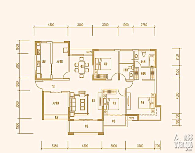 深圳5室2厅2卫153㎡-丰泰东海山庄(住宅)户型图-买房