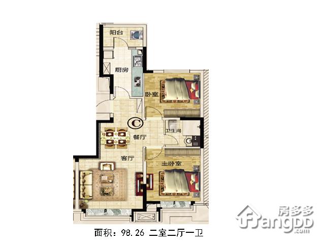 恒大城2室2厅1卫户型图