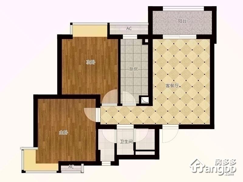E户型 2室2厅1卫74.24㎡