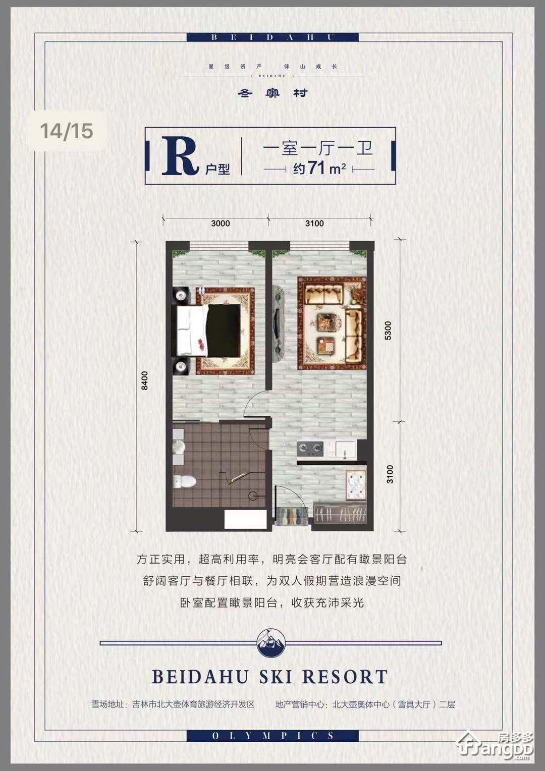 北大壶冬奥村1室1厅1卫户型图