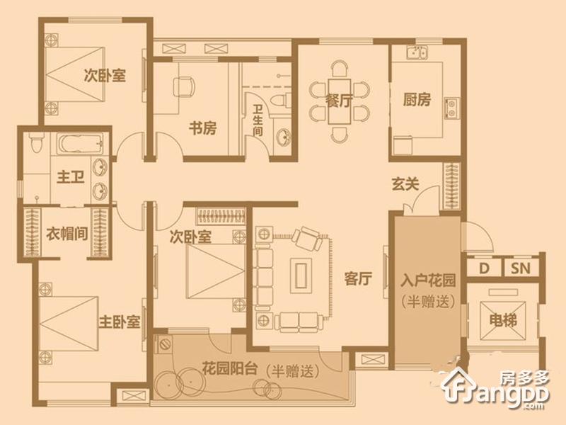 星光山水4室2厅2卫户型图