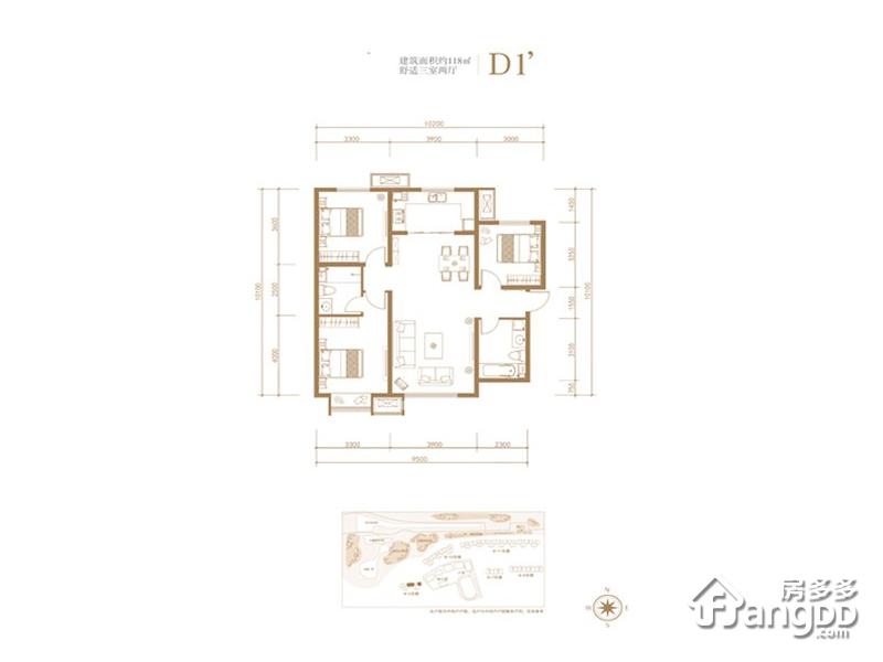 京投发展公园悦府3室2厅2卫户型图