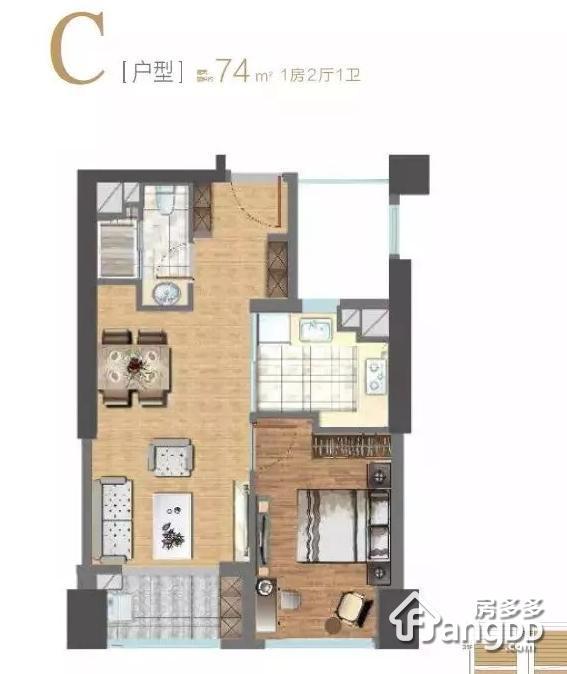 东方悦耀1室2厅1卫户型图