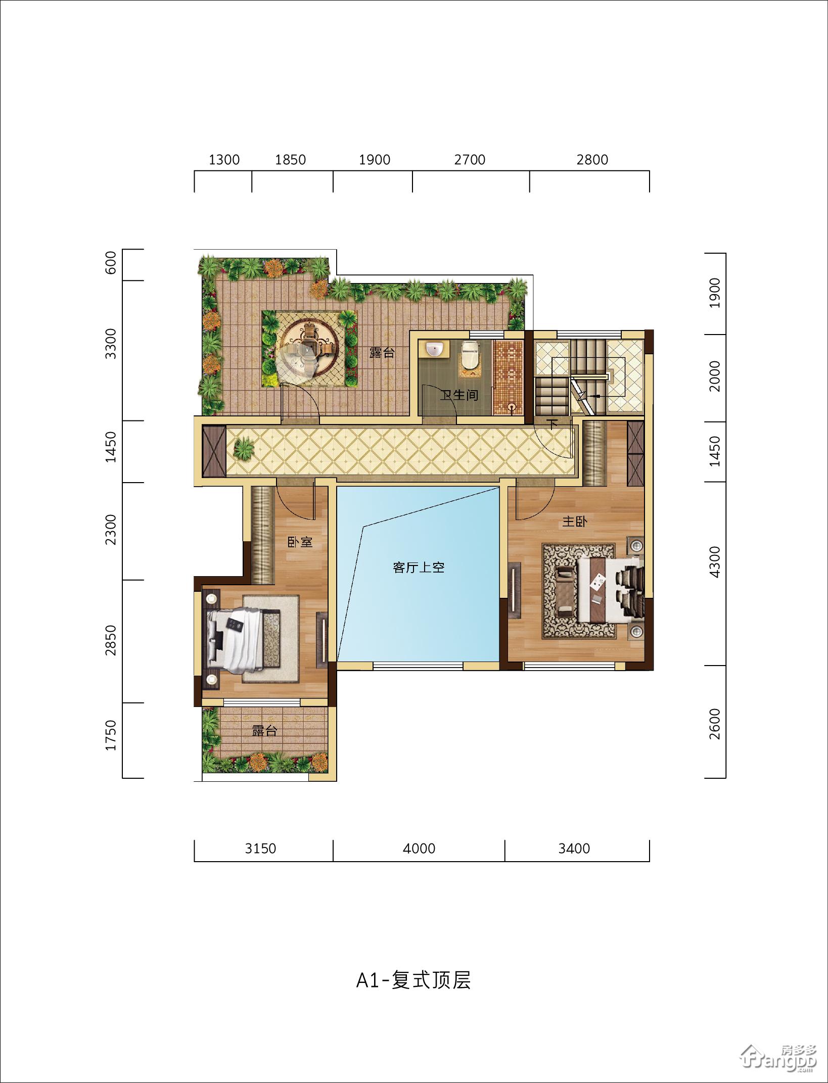 滨河名邸(临沂)2室1厅1卫户型图