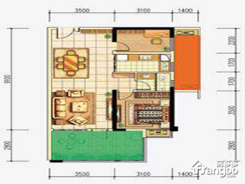 首钢贵州之光2室2厅1卫户型图