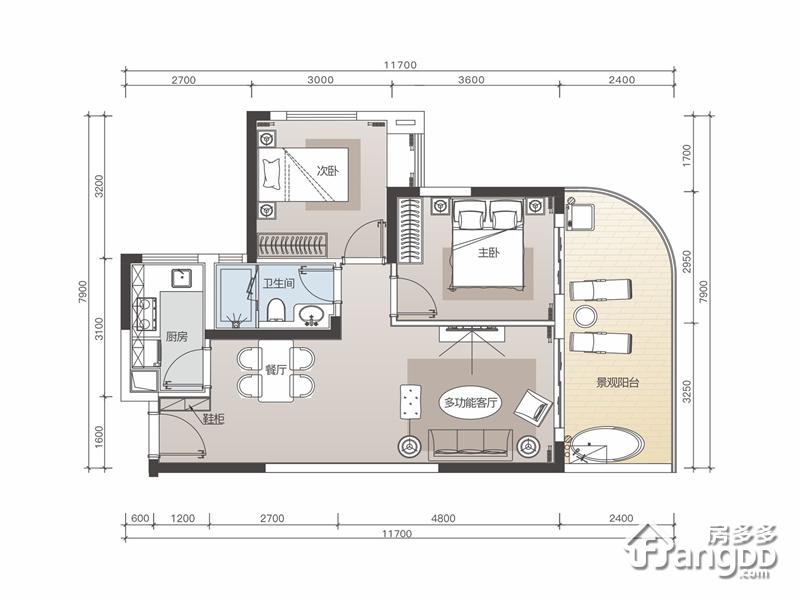 佳兆业山海湾项目2室2厅1卫户型图