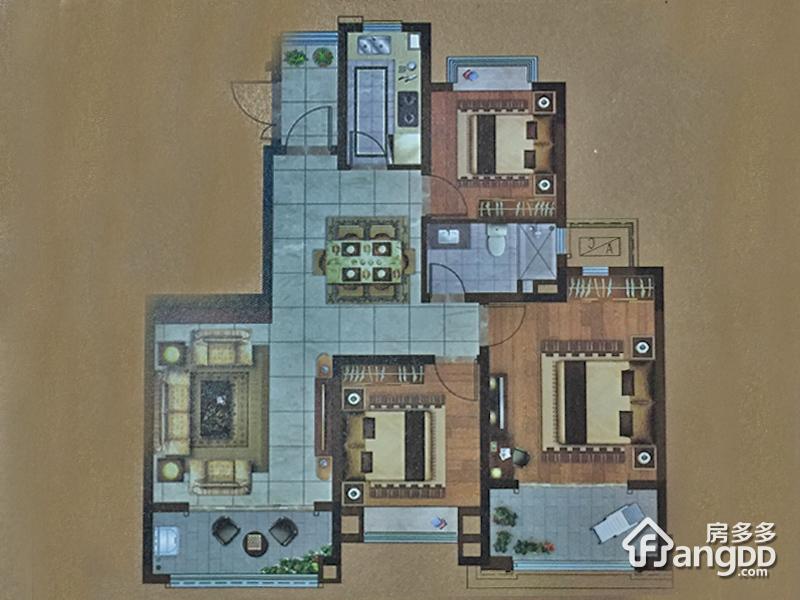 恒大翡翠公园3室2厅1卫户型图