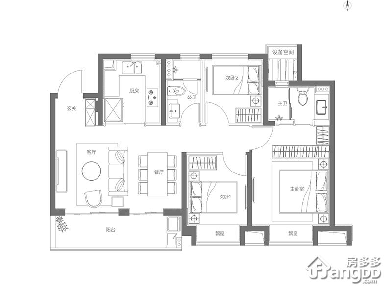 金地玺悦3室2厅2卫户型图
