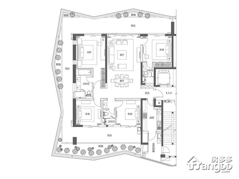 复地鹿岛4室2厅3卫户型图