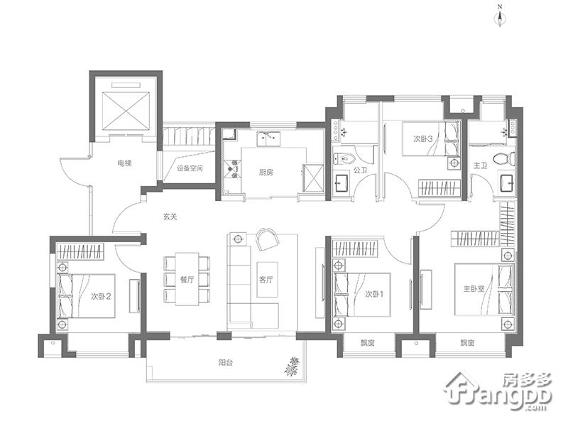金地玺悦4室2厅2卫户型图