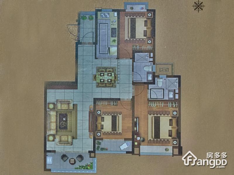 恒大翡翠公园3室2厅2卫户型图