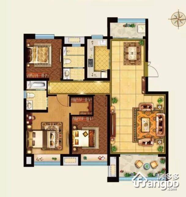 外滩3号3室2厅2卫户型图