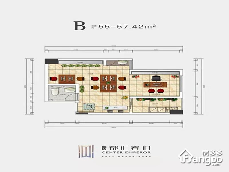 德成·都汇君泊1室1厅1卫户型图
