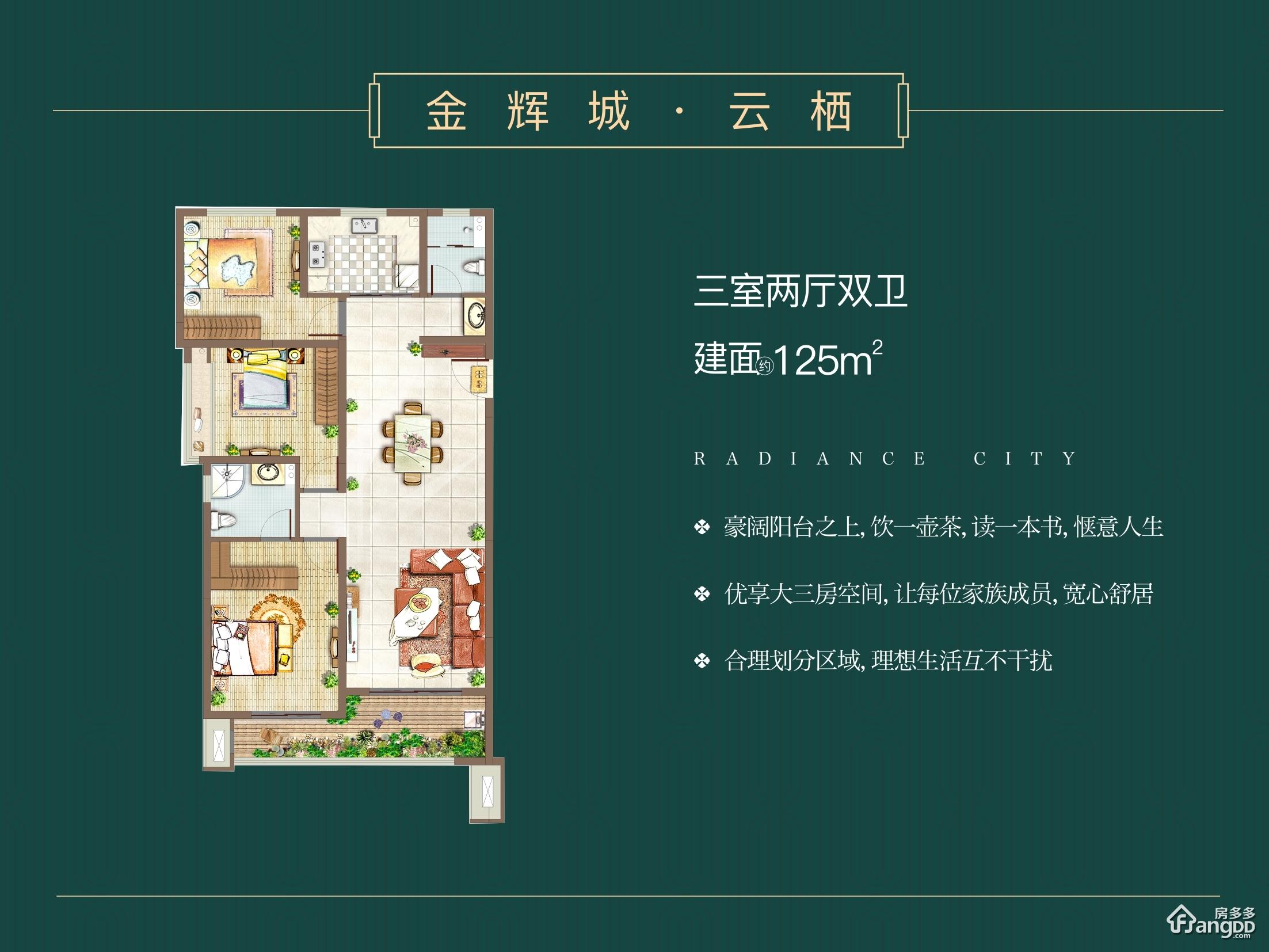 金辉城3室2厅2卫户型图