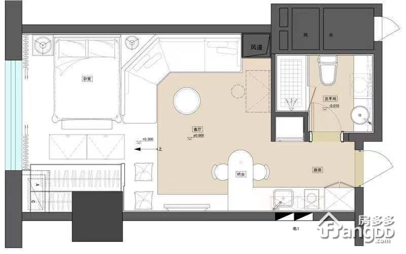 财富天河之都1室1厅1卫户型图