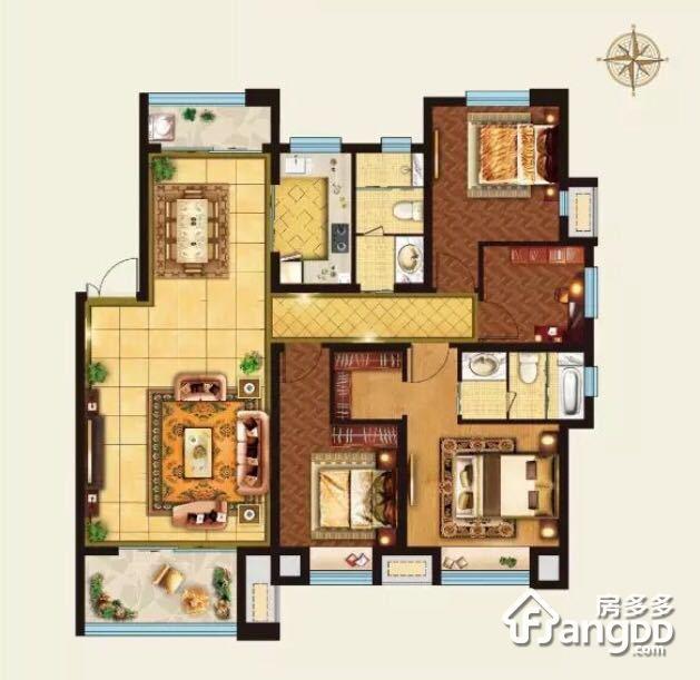 外滩3号4室2厅2卫户型图