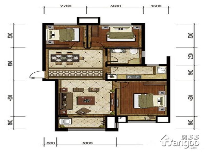 岸上澜湾3室2厅1卫户型图