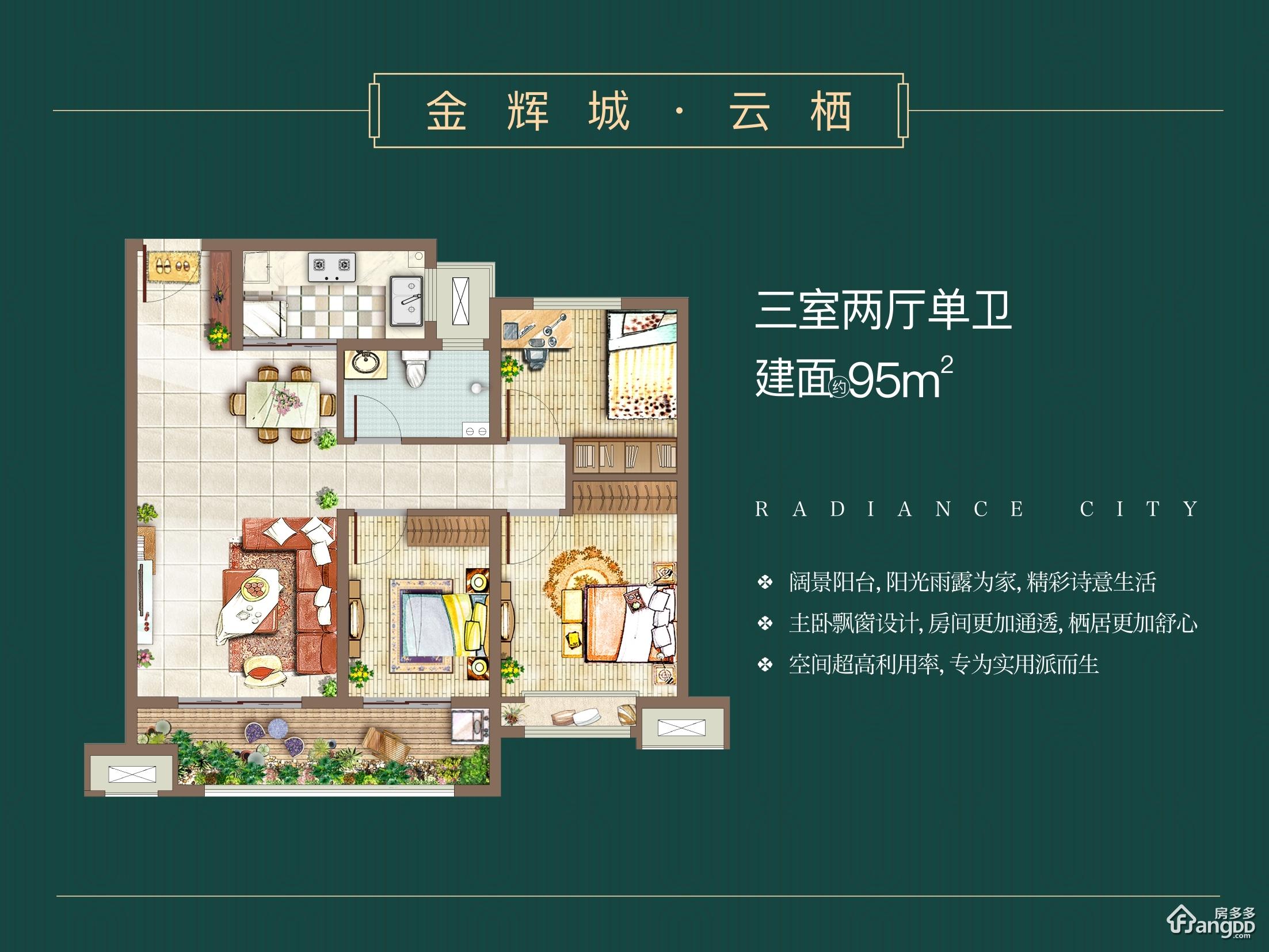 金辉城3室2厅1卫户型图