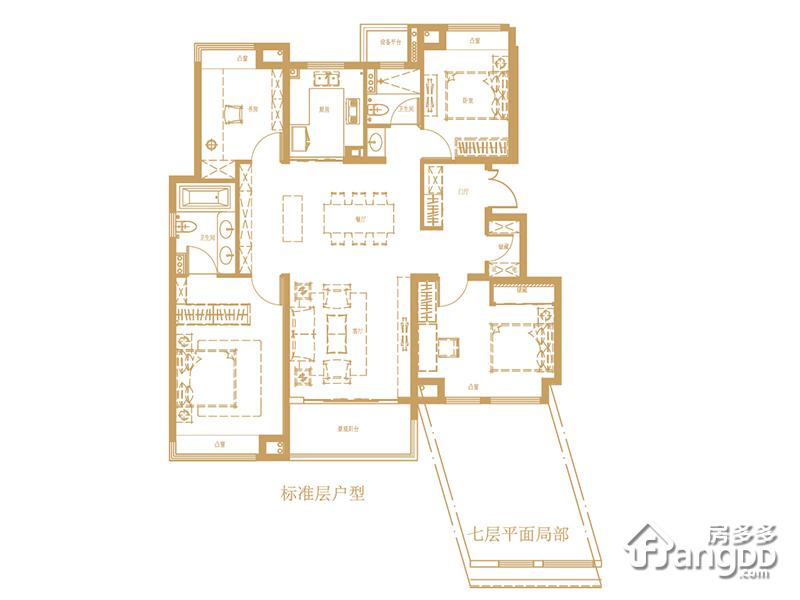 140㎡精工平墅 4室2厅2卫140㎡
