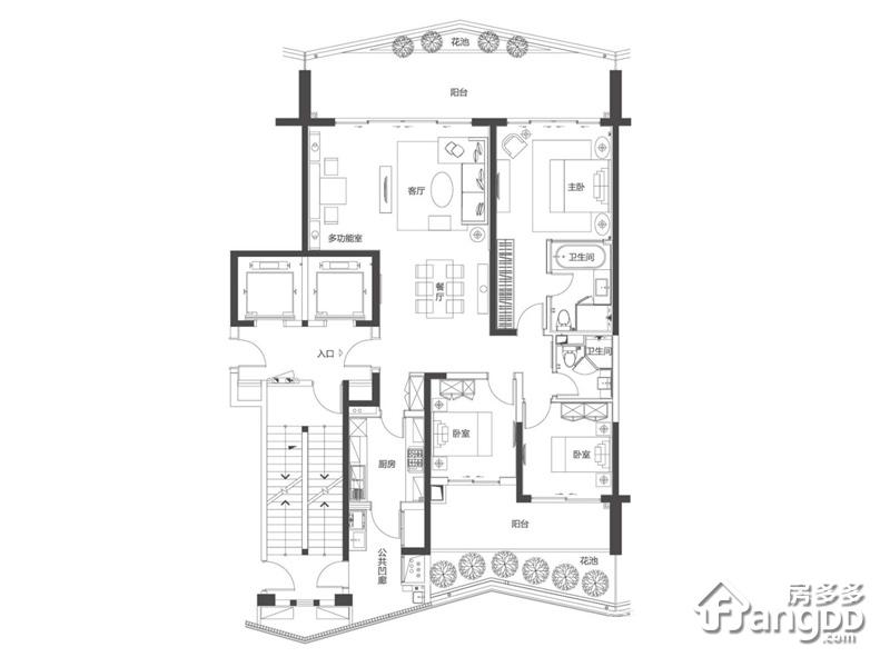 复地鹿岛3室2厅2卫户型图