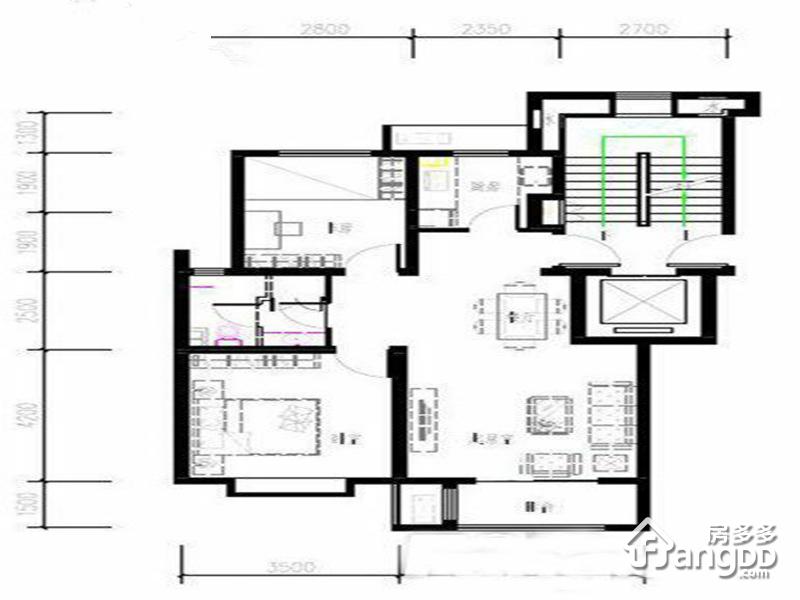 秦皇皓月城3室2厅2卫户型图