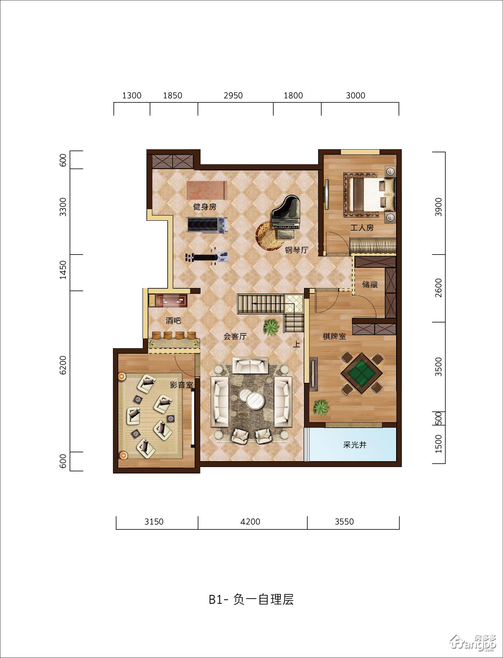 滨河名邸(临沂)1厅1卫户型图