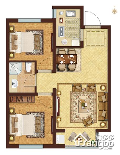 鸿坤理想澜湾2室2厅1卫户型图