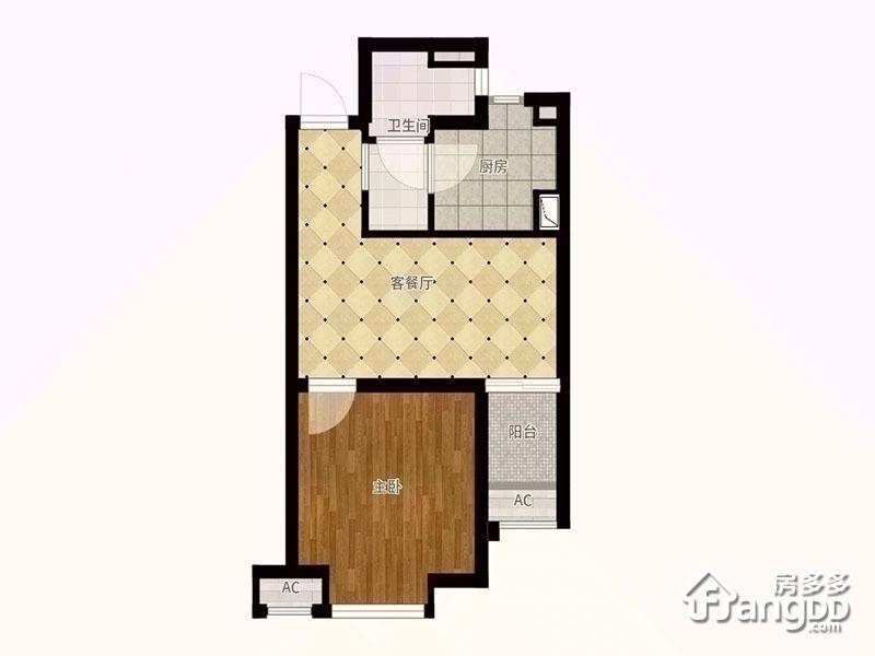 G户型 1室2厅1卫48.92㎡