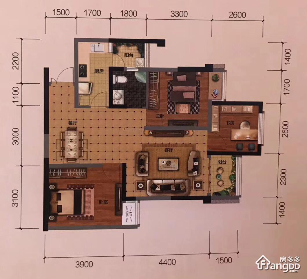 中央国际3室2厅1卫户型图